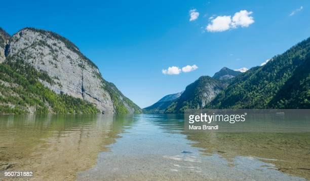 View across Lake Koenigssee, Berchtesgaden National Park, Berchtesgaden District, Upper Bavaria, Bavaria, Germany