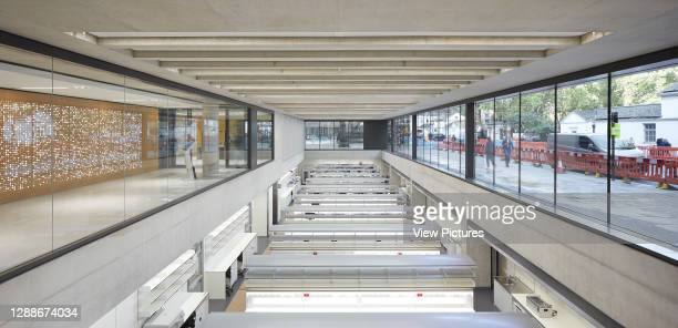 View across lower ground level laboratory with clerestory windows. Zayed Centre for Research into Rare Disease in Children, London, United Kingdom....