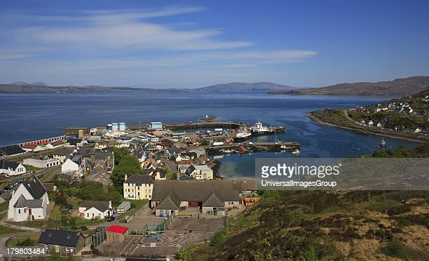 View across Mallaig town and harbour from radio mast West Highlands Scotland United Kingdom