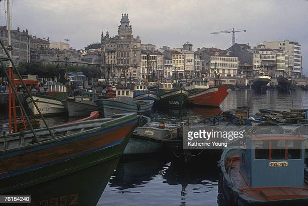 View across numerous boats in A Coruna Harbor A Coruna September 1967