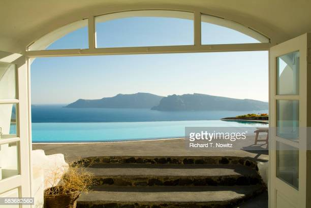 View across patio and pool towards the Aegean