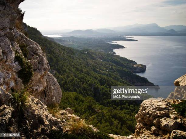 View across peninsula Alcúdia on balearic island Majorca