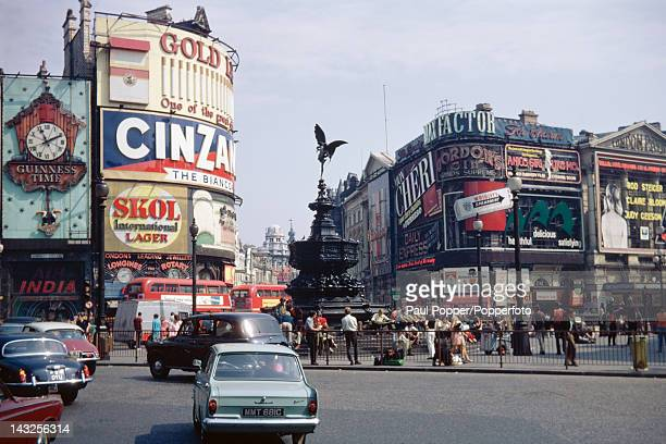 A view across Piccadilly Circus towards Shaftesbury Avenue London September 1969 In the centre is the statue of Anteros