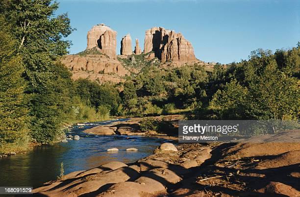 A view across Red Rock Crossing towards Cathedral Rock Yavapai County Arizona circa 1965