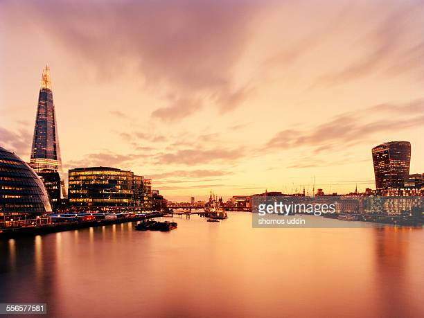 View across River Thames at sunset