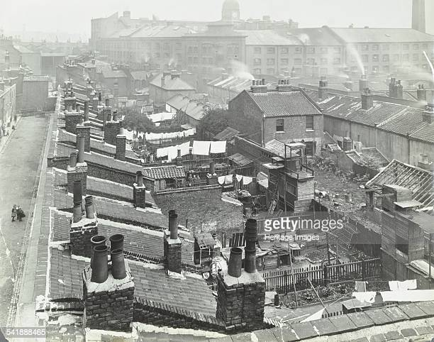 View across roof tops to Pink's Factory Tabard Street Southwark London 1916 This picture was taken prior to slum clearance to make way for the Tabard...