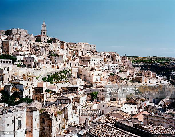View across rooftops of Matera hilltown