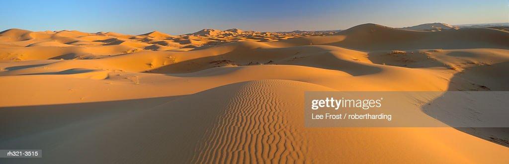 View across sand dunes of the Erg Chebbi, Sahara Desert near Merzouga, Morocco : Stockfoto