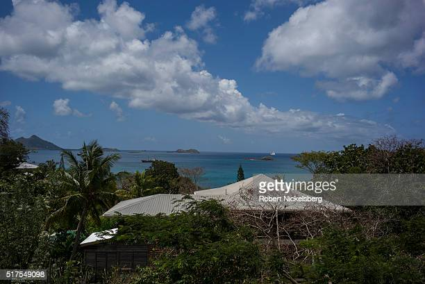 View across several rooftops of a harbor near Craigston Carriacou island Grenada March 4 2016