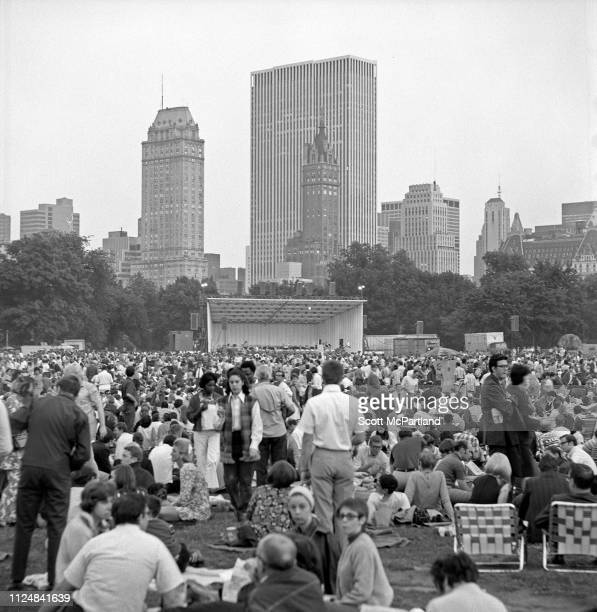 View across the audience on the Central Park's Great Lawn prior to a Barbara Streisand concert New York New York June 17 1967