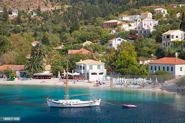 View across the bay, Assos, Kefalonia, Greece
