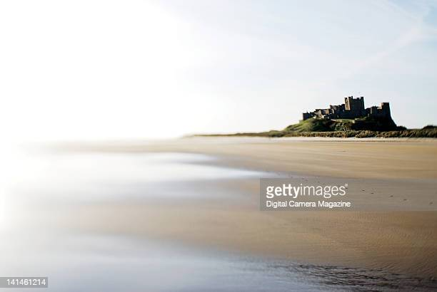 View across the beach surrounding Bamburgh Castle on the Northumberland coastline taken on April 22 2009