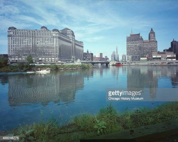 View across the Chicago River of the Merchandise Mart Chicago Illinois mid 20th century