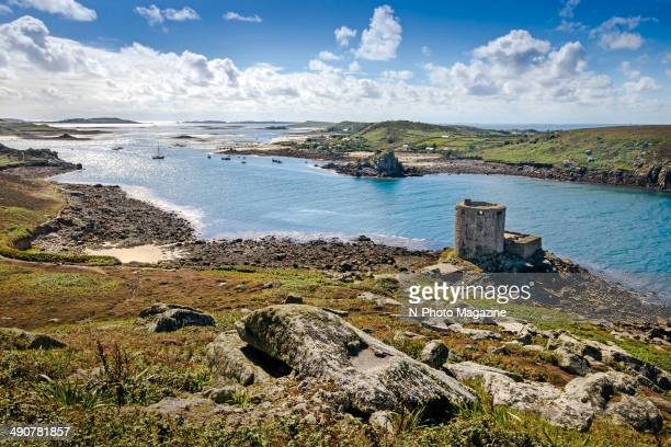 View across the coastline of Tresco in the Isles of Scilly taken on October 3 2013 A 17thcentury fort known as Cromwell's Castle is visible in the...
