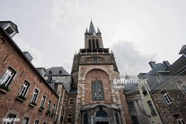 View Across The Domhof Courtyard To The Carolingian Westwork Baroque Porch And 19ThCentury Tower Of Aachen Cathedral Aachen Germany