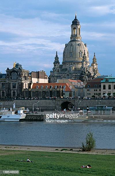 View across the Elbe River of the Frauenkirche, Dresden, Germany