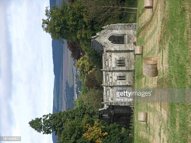 View across the fields to the Mausoleum in Falkland Estate. It was built by Ninian Chrichton-Stuart, son of the third Marquis of Bute, but was never...