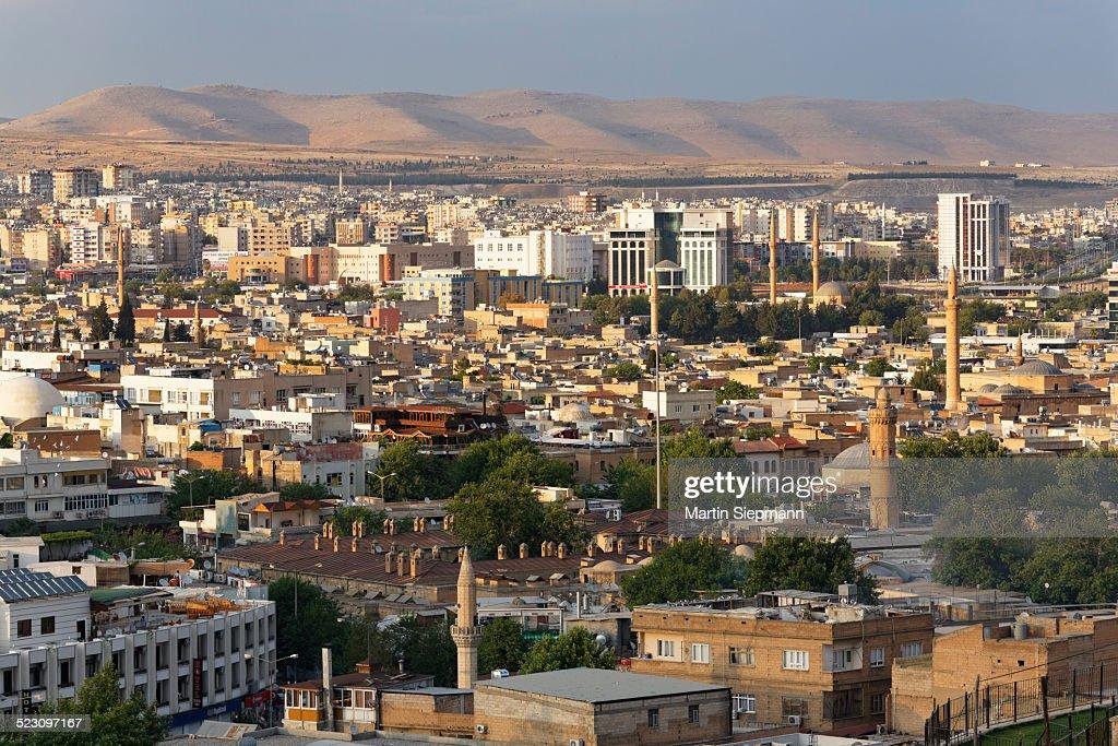 View across the historic centre of Sanliurfa, Urfa, Sanliurfa, Southeastern Anatolia, Anatolia, Turkey : Stock Photo