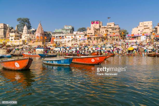 View across the holy river Ganges on Dashashwamedh Ghat Main Ghat in the suburb Godowlia