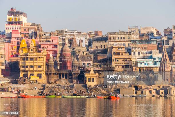 View across the holy river Ganges on Manikarnika Ghat, Burning Ghat, in the suburb Godowlia.