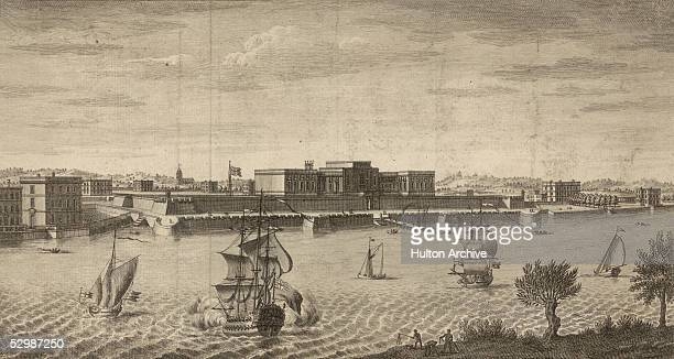 A view across the Hoogli River to Fort William Kolkata circa 1760 Built by the British East India Company the fort was the scene of the disputed...