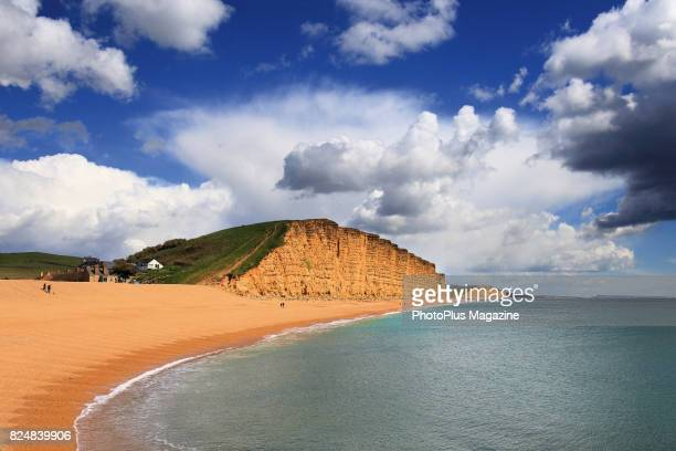 View across the Jurassic coastline to East Cliff, near West Bay in Dorset, taken on April 26, 2016.