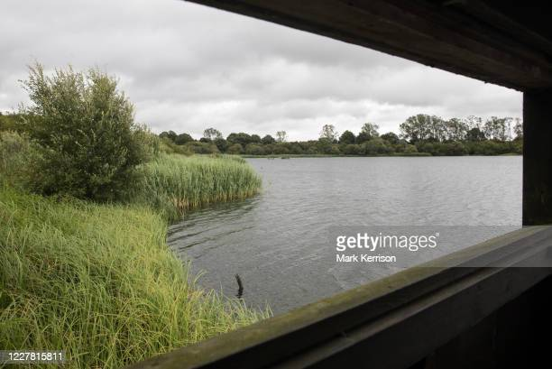 View across the lake from one of the bird hides at Calvert Jubilee Nature Reserve on 27 July 2020 in Calvert, United Kingdom. On 22nd July, the...