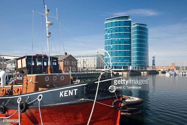 View across the marina, Chatham, Kent, England