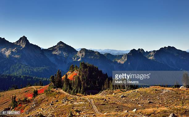 a view across the mount rainier landscape to alta vista and peaks of the tatoosh range - pinnacle peak stock pictures, royalty-free photos & images