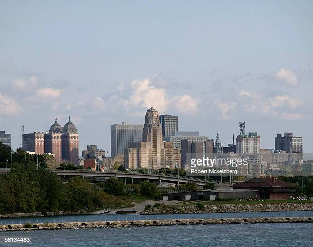 A view across the Niagara River shows the Buffalo New York skyline from Peace Bridge on September 20 2005 in Fort Erie Ontario Nearly 32 million...