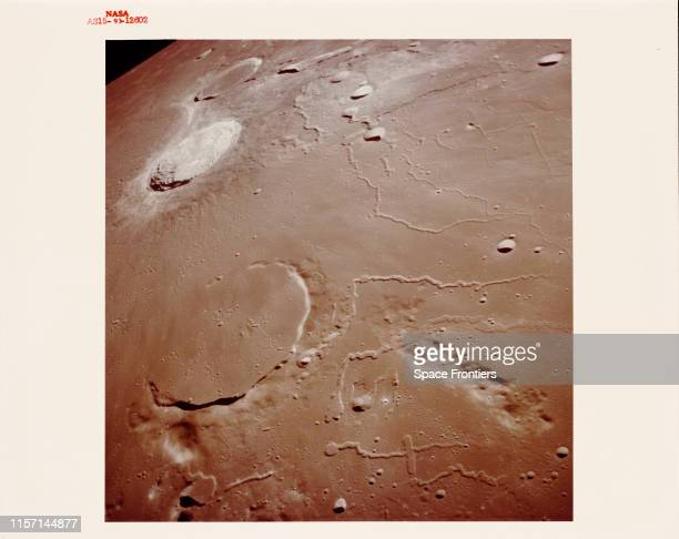A view across the Prinz Aristarchus and Herodotus craters on the Moon as seen from orbit during NASA's Apollo 15 lunar landing mission 1971 Cobra...