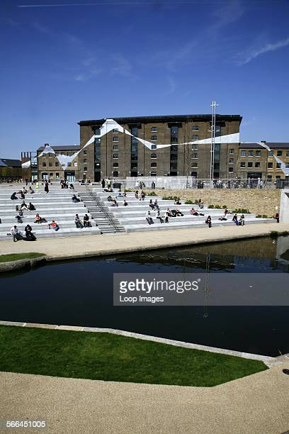 A view across the Regents Canal towards Central Saint Martins college in Granary Square
