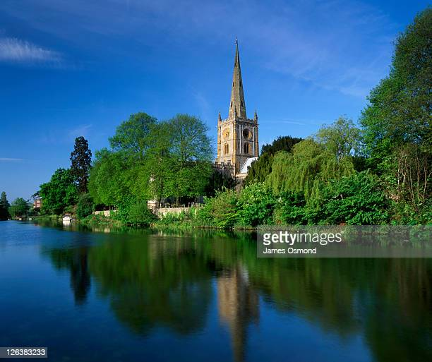 A view across the River Avon to the Holy Trinity Church in Stratford-upon-Avon.