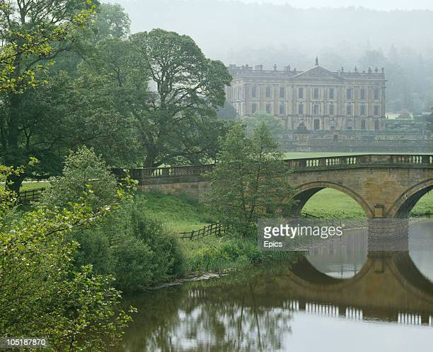 A view across the River Derwent towards Chatsworth House Chatsworth Derbyshire circa 1970 The stately home is the seat of the Duke of Devonshire