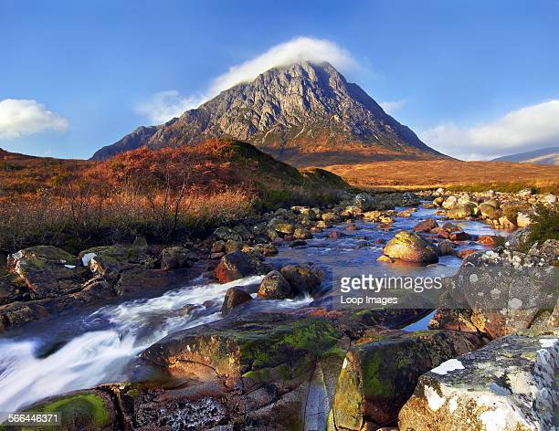 View across the River Etive towards Buachaille Etive Mor one of the most recognisable mountains in Scotland