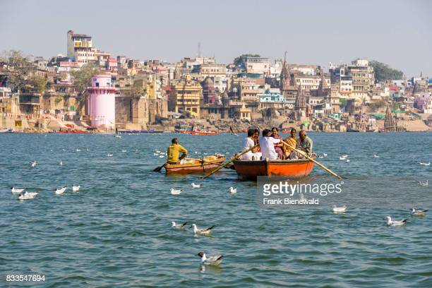 View across the river over the ghats at the holy Ganges