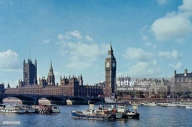 A view across the River Thames of the Houses of Parliament and 'Big Ben' London England circa 1960