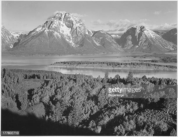 View across the river valley towards Mount Moran in Grand Teton National Park Wyoming 1942