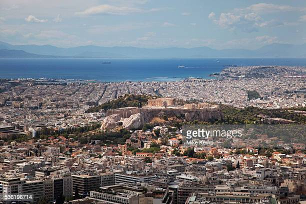View across the sprawling city of Athens from the summit of Lykavittos Hill in the North Eastern section of the centre of the city In this direction...