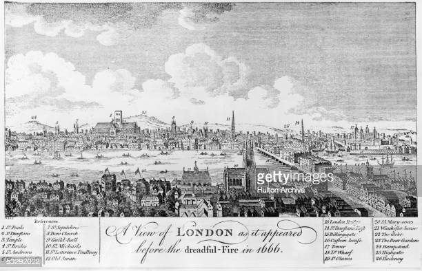 A view across the Thames from Southwark to the City of London as it appeared circa 1650 before the Great Fire of 1666 The old London bridge can be...