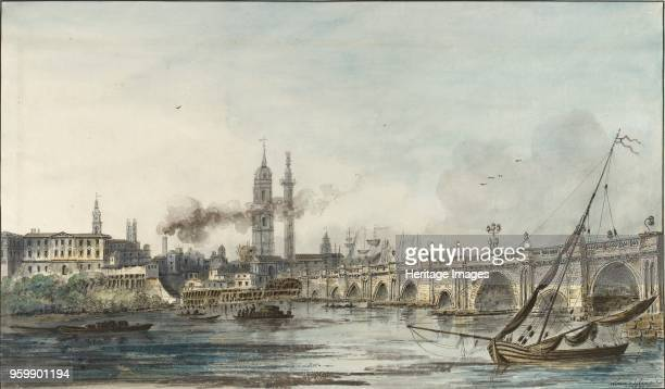 View across the Thames towards the Church of St Magnus and the Monument late 18th century London Bridge on the right Dimensions height x width sheet...