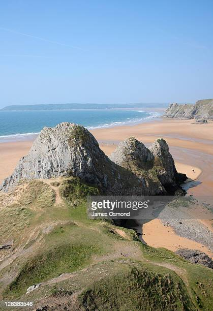 View across the Three Cliffs Bay on the Gower Peninsula, at low tide, on the south Wales coastline