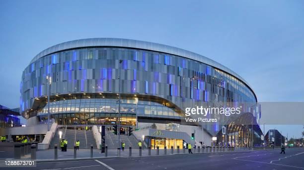 View across Tottenham High Road towards stadium. The New Tottenham Hotspur Stadium, London, United Kingdom. Architect: Populous, 2019.