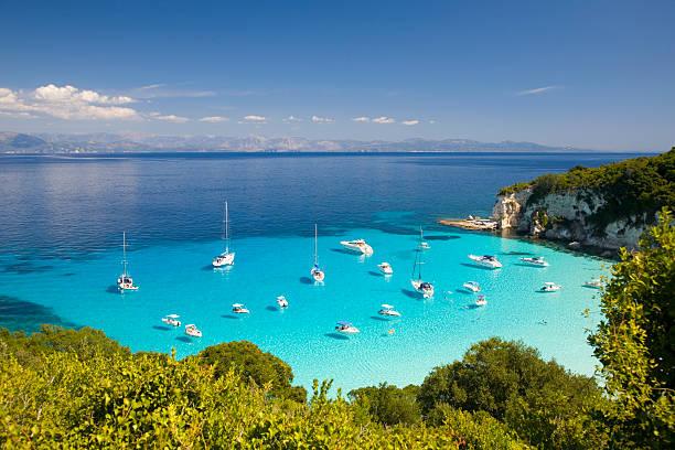 View across turquoise sea, Voutoumi Bay, Antipaxos