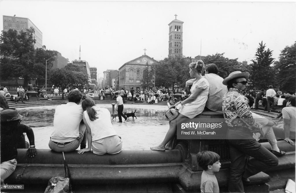 View across Washington Square Park, looking south towards Judson Memorial Church, New York, New York, July 12, 1969.