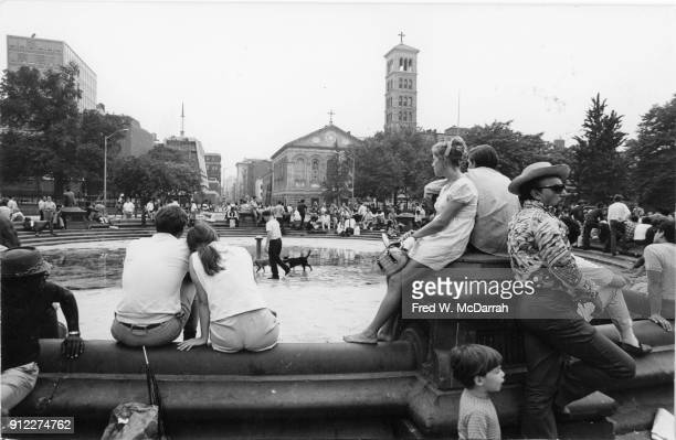 View across Washington Square Park looking south towards Judson Memorial Church New York New York July 12 1969