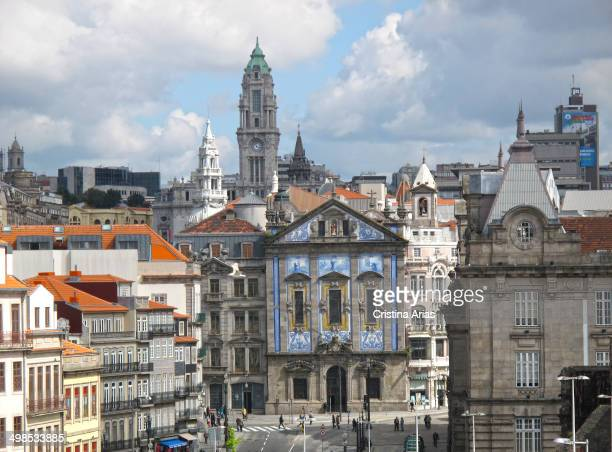 View Almeida Garret Square in Oporto with the train station of Sao Bento Saint Anthony's Church Congregados and behind the Town Hall's tower Porto...