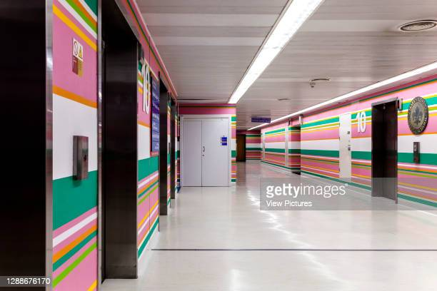 View along 10th floor corridor. St Mary's Hospital, London, United Kingdom. Architect: Bridget Riley, 2014.
