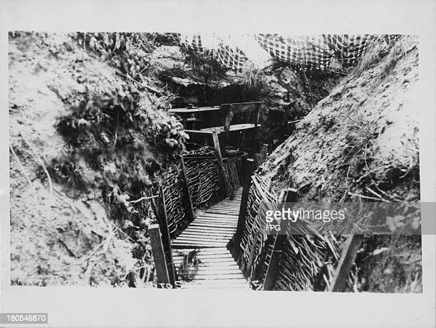 A view along a German trench on the western front during World War One France circa 19141918