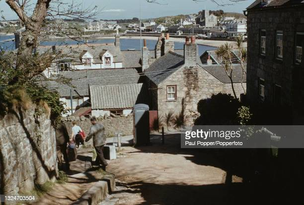 View along a residential street of buildings and houses in Hugh Town, the largest town on the island of St Mary's in the Isles of Scilly off the...